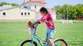 一个逗人喜爱的小女孩的画象坐自行车 股票录像