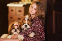 一个逗人喜爱的小女孩的画象有两条狗的 免版税库存图片