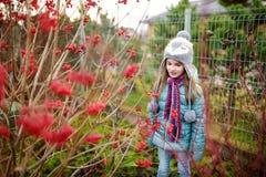 一个逗人喜爱的小女孩的画象在美好的秋天天 库存图片