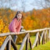 一个逗人喜爱的小女孩的画象在autunm天 库存图片
