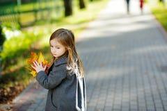 一个逗人喜爱的小女孩的画象在autunm天 免版税库存图片