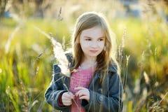 一个逗人喜爱的小女孩的画象在autunm天 库存照片