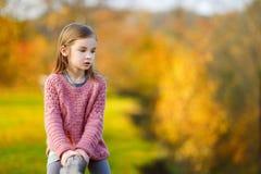 一个逗人喜爱的小女孩的画象在autunm天 免版税图库摄影