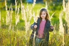 一个逗人喜爱的小女孩的画象在autunm天 图库摄影