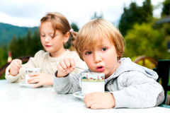 一个逗人喜爱的小男孩和女孩的画象 免版税库存图片