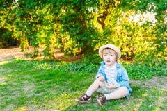 一个逗人喜爱的小男孩的室外画象 图库摄影