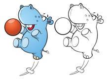 一个逗人喜爱的小的河马漫画人物的例证 书五颜六色的彩图例证 分级显示 库存例证