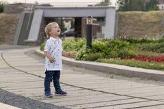 一个逗人喜爱的微笑的愉快的男婴的画象在公园夏日 情感,鬼脸,惊奇,孩子,小孩,面孔 免版税库存照片