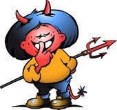 一个逗人喜爱的恶魔女孩的向量例证 免版税库存照片