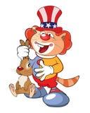 一个逗人喜爱的猫小丑的例证 背景漫画人物厚颜无耻的逗人喜爱的狗愉快的题头查出微笑白色 库存例证