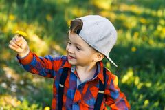 一个逗人喜爱的男孩获得乐趣外面在国家在夏天在日落 使用用黄色蒲公英的男孩在庭院里 免版税库存图片