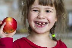 一个逗人喜爱的矮小的卷曲无牙的女孩微笑并且拿着一个红色苹果 吃一个红色苹果的一个愉快的婴孩的画象 孩子丢失牛奶 免版税库存图片