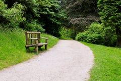 一个道路和长木凳的看法在森林足迹 免版税库存图片