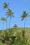 一个遥远的热带海滩的风景在Yasawa海岛斐济 免版税库存图片