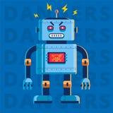 一个邪恶的凶手机器人的平的图象 他非常恼怒 向量例证
