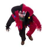 一个邪恶的小丑的画象,隔绝在白色,概念万圣夜 免版税库存照片