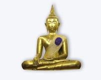 一个金黄下跪菩萨雕象 库存图片