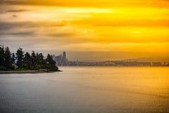 一个金黄小时射击了西雅图,华盛顿 库存照片