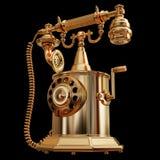 一个金黄减速火箭被称呼的电话的例证 库存图片