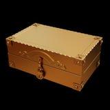 一个金黄手提箱的例证 免版税图库摄影