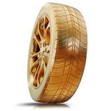 一个金黄轮胎的例证 免版税库存图片