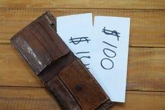 一个钱包在桌上和在它中与题字的一张纸 免版税库存照片