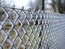 一个铁丝网的特写镜头视图有霜的与冰晶在蓝天下有被弄脏的背景 免版税图库摄影