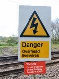 说一个铁路的安全标志警告危险顶上的载电线D 免版税库存照片