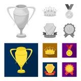 一个银色杯子,有金刚石的一个金冠,得奖者,与一条红色丝带的一个金标志的奖牌 被设置的奖和战利品 皇族释放例证