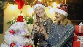 一个银色礼服和红色帽子的两个典雅的女孩愉快对圣诞节 圣诞晚会 新年好 女孩喝 股票视频