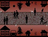 一个镇的超现实的剪影例证在晚上 库存图片