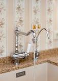 一个长方形设计师厨房水槽的细节与镀铬物水龙头的 库存图片