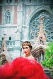 一个长的红色礼服和皇家冠的美丽的女孩 库存照片