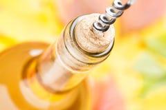一个闭合的瓶与拔塞螺旋的白葡萄酒 顶视图 免版税库存照片