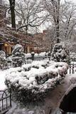 一个降雪的冬天的储蓄图象在波士顿,马萨诸塞,美国 免版税库存照片