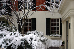 一个降雪的冬天的储蓄图象在波士顿,马萨诸塞,美国 图库摄影