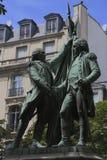 一个雕象Auguste Bartholdi、方形的des États-Unis,荣誉法国军官候爵拉斐特和第一位总统  库存照片