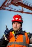 一个露天开采矿的工作者 库存图片