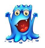 一个非常恼怒的蓝色妖怪 免版税库存图片