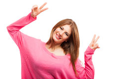 非常愉快的妇女 免版税库存照片