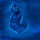 一个非常无辜的蓝色害羞的字符的一张逗人喜爱和乐趣例证数字式绘画在水中 库存图片