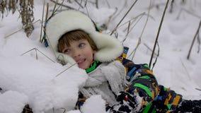 一个非常逗人喜爱的愉快的小男孩在公园在冬天 花雪时间冬天 愉快的男孩获得乐趣在雪冬天公园 他是愉快的 股票视频
