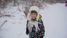 一个非常逗人喜爱的愉快的小男孩在公园跑在冬天 花雪时间冬天 愉快的男孩获得乐趣在雪冬天公园 他是 股票视频