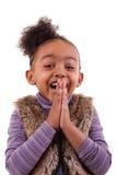 一个非裔美国人的小女孩的画象-黑人 免版税库存图片