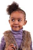 一个非裔美国人的小女孩的画象-黑人 免版税库存照片
