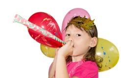一个面具的女孩与气球 免版税库存图片