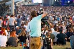 一个音乐会的录影生产商在Primavera声音2017年节日 免版税库存图片