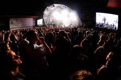 从一个音乐会的观众在生波探侧器节日 库存照片