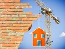一个预制的家的概念图象的建筑 免版税库存图片