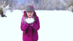 一个领域的美丽的小女孩在雪 从的打击雪手掌 股票视频